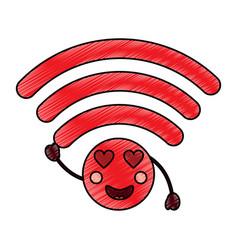 Wifi heart eyes kawaii icon imag vector