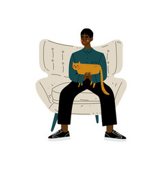 Young african american man sitting in armchair vector