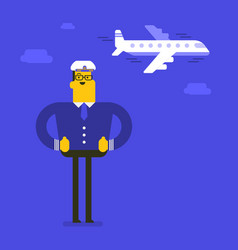 Young cheerful caucasian white airline pilot vector