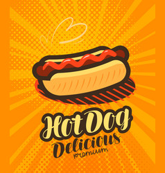 american hot dog fast food poster pop art retro vector image vector image