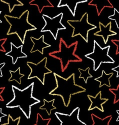 Black pattern with gold star doodles for xmas vector image