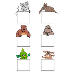 cartoon animal characters with cards set vector image vector image
