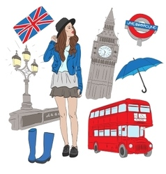 Girl and elements of London vector image