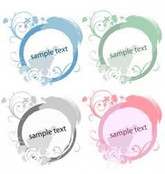 circle floral frame set vector image