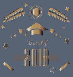 class of 2018 in gold on purple background vector image vector image