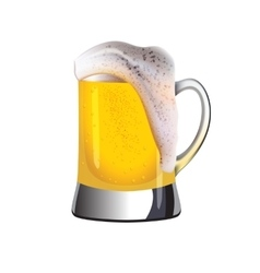 Mug of golden beer topped with foam vector image vector image