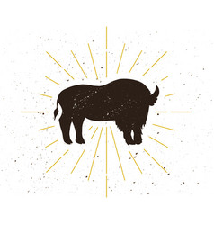 retro standing bison silhouette logo vector image