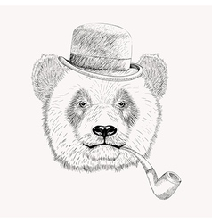 Sketch panda face with black bowler hat and vector image