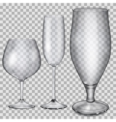 Transparent empty glass goblets vector