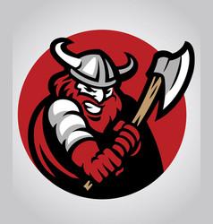 viking mascot swinging the axe vector image