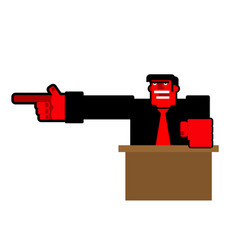 Angry boss points finger up office relationships vector