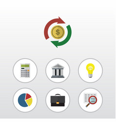 flat icon incoming set of calculate scan bank vector image vector image