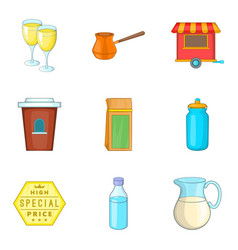 glassful icons set cartoon style vector image