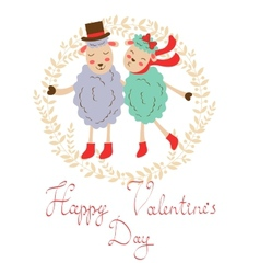 Happy valentines day with cute sheeps couple vector image vector image