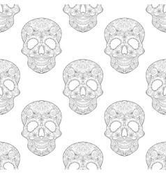 Zentangle stylized Skull for Halloween seamless vector image