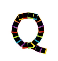 Alphabet Q with colorful polaroids vector image vector image