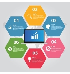 information technology computer laptop infographic vector image