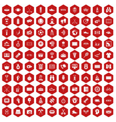 100 sport journalist icons hexagon red vector image
