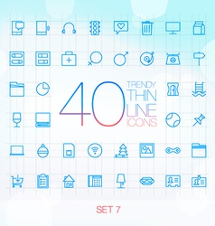 40 Trendy Thin Icons for web and mobile Set 8 vector