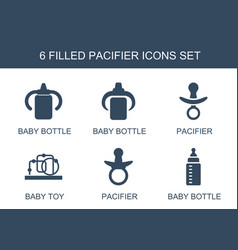 6 pacifier icons vector