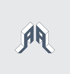 Aa - monogram or logotype isometric 3d font vector
