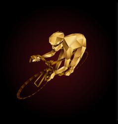 Abstract golden polygonal cyclist vector