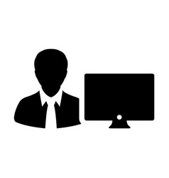 Admin icon male person user with computer monitor vector