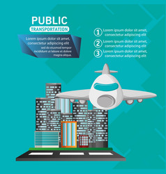 airplane passenger flying urban background vector image