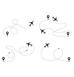 airplane routes way path tracks set vector image