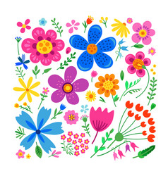 Amazing floral set of flowers vector