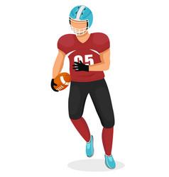 american football player with ball gridiron game vector image