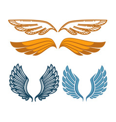 Angel gold and blue wings collection gorgeous vector