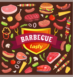 Barbecue tasty party icons set vector