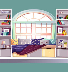 bay window seat at home library interior vector image