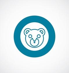 Bear toy icon bold blue circle border vector