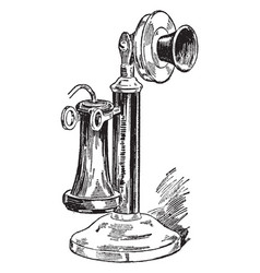 Candlestick telephone vintage vector