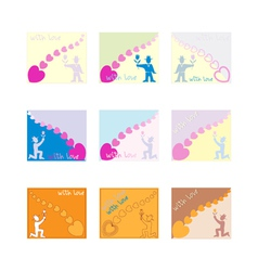 Cards with men and hearts vector
