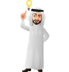 cartoon arab businessman thinking and having idea vector image