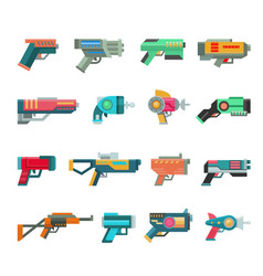 Cartoon gun toy blaster for kids game with vector