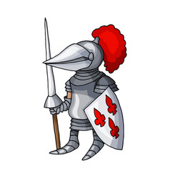 Cartoon medieval knight with shield and spear vector