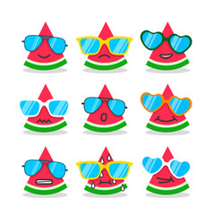 cartoon watermelon emojis with emotion vector image