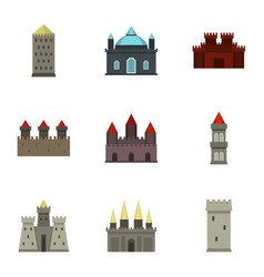 Castles and towers icon set flat style vector
