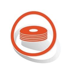 CD stack sign sticker orange vector image