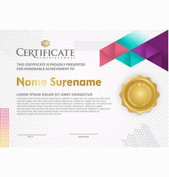 Certificate template with polygonal geometric vector