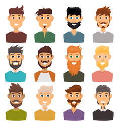 character various expressions bearded man face vector image