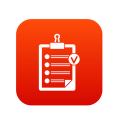 check list icon digital red vector image