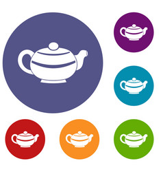 Chinese teapot icons set vector