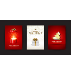 christmas greeting cards set and ornate vector image