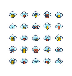 cloud computing filled outline icon set vector image