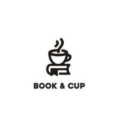 coffee cup and book cafe library logo vector image